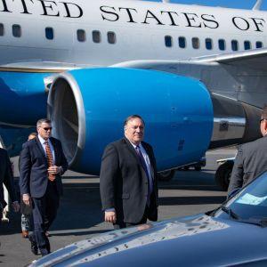 Yhdysvaltain ulkoministeri Mike Pompeo saapuu Rovaniemelle toukokuussa 2019.