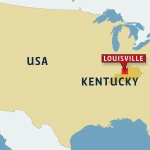 Ammuskelu Kentyckyssa, kartta Louisville, Kentucky.