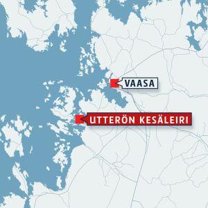 Vaasa ja Utterö kartalla.