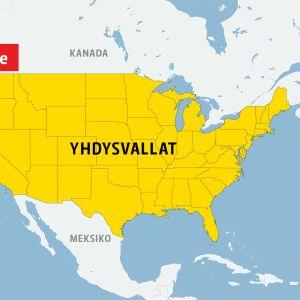 Yhdysvaltain kartta, jossa näkyy Seattlen sijainti.