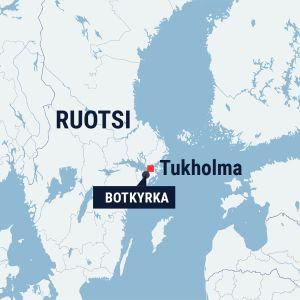 Kartta, jossa Tukholma ja Botkyrka.