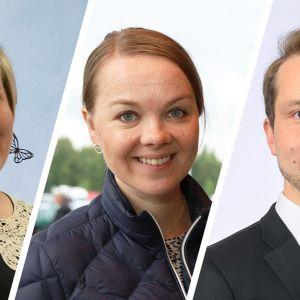 Annika Saarikko, Katri Kulmuni ja Petri Honkonen.