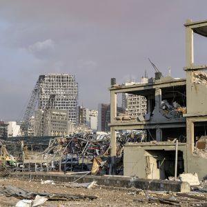 Beirutin räjähdyksen tuhoja.