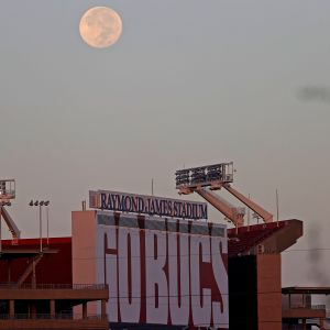 TAMPA, FLORIDA - AUGUST 04: A view of Raymond James Stadium during a practice at on August 04, 2020 in Tampa, Florida. (Photo by Mike Ehrmann/Getty Images)