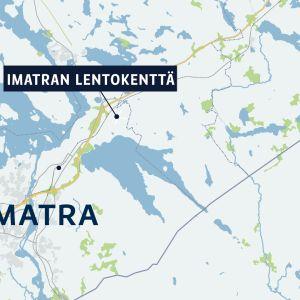Kartta, jossa Imatra ja Imatran lentokenttä