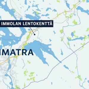 Kartta, jossa Imatra ja Immolan lentokenttä