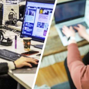 Henkilö tietokoneen äärellä avokonttorissa ja toinen henkilö tietokoneen äärellä etätöissä kotona