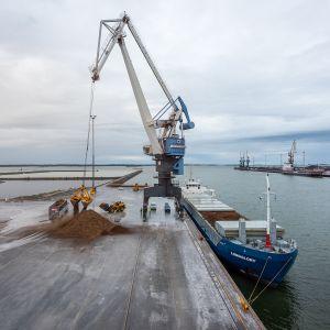 Kokkolan satamaan maanantaina saapunutta koekuormaa purettiin reilun vuorokauden ajan.