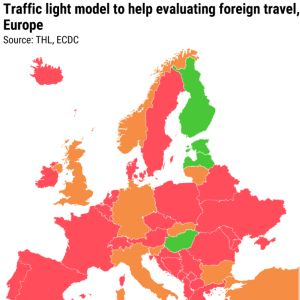 Traffic light model to help evaluating foreign travel, Europe