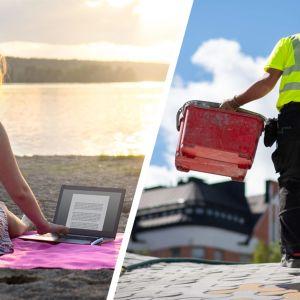Nainen työskentelee laptopilla rannalla, rakennustyömies kantaa kahta ämpäriä työmaalla.