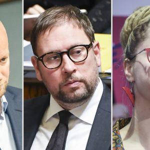 Jussi Saramo, Paavo Arhinmäki ja Hanna Sarkkinen.