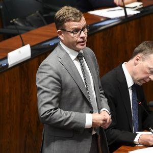 Kokoomuksen puheenjohtaja Petteri Orpo ja perussuomalaisten puheenjohtaja Jussi Halla-aho.