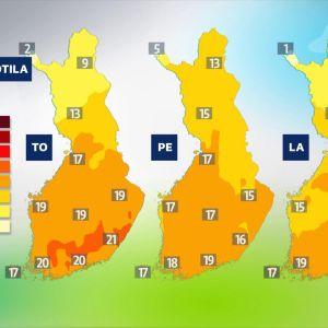 ylin lämpötila -kartta