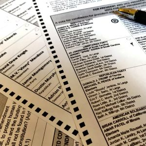 Sample absentee voting ballot for US state of Louisiana, November 2020 elections.