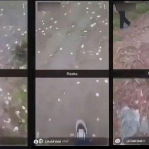 Mies kuvaa jalkojaan ja veistä videolla.