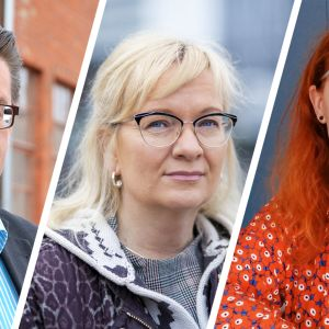 Pron Jorma Malinen, JHL Päivi Niemi-Laine ja Pamin Annika Rönni-Sallinen.