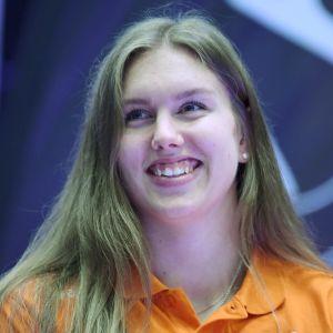 Hämeenlinnan Lentopallokerhon Yasmine Madsen lentopallon Mestaruusliigan mediatilaisuudessa 24. syyskuuta 2020.
