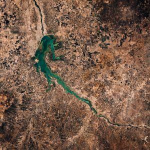 Ilmakuvassa näkyy Niili Etiopiassa.