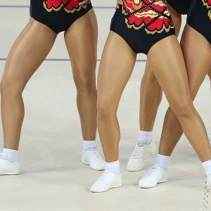 Kilpa-aerobic voimistelijoita.