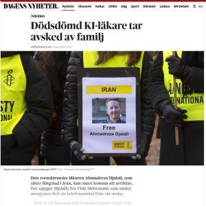 Iranin uskotaan teloittavan lähiaikoina vankinaan pitämän ruotsalaisen lääkärin Ahmadreza Djalilin, kertoo Dagens Nyheter -lehti.