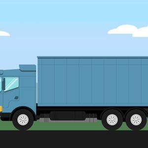 Animaatio, jossa sininen rekka-auto ajaa kuvassa vasemmalle päin. Takana on pilviä ja vuorimaisemaa. Tieviitta merkinnällä E18 vilahtaa rekan jatkaessa maatkaansa kohti määränpäätään.