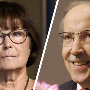 Professori Kaisa Häkkinen ja emeritusprofessori Kari Alitalo.