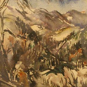 Cagnesin vuoristoa, Eemu Myntin akvarelli 1920-luvulta. Teos Erkki Fredriksonin kokoelmasta.