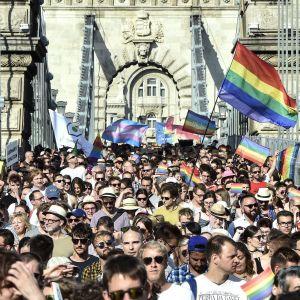 Ihmisiä sukupuoli- ja seksuaalivähemmistöjen oikeuksien marssilla Budapestissä.