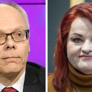 Kuvassa Millariikka Rytkönen (Tehyn puheenjohtaja) ja Juha Tuominen (HUSin toimitusjohtaja).