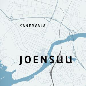 Joensuun kartta, johon merkitty Kanervalan kaupunginosa.