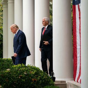 Donald Trump ja Mike Pence Valkoisen talon pihalla.
