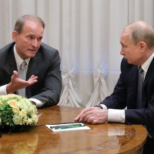 Ukrainalainen oppositiopoliitikko Viktor Medvedtšuk ja Venäjän presidentti Vladimir Putin.