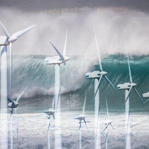 Tuulivoimaloita, meren aaltoja