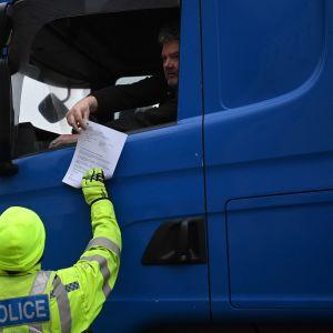 Rekkoja tarkastetaan Doverin satamassa Englannissa.
