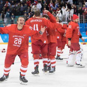 Vuoden 2018 Pyeongchangin olympiakisoissa venäläispelaajien tunnuksettomat pelipaidat näyttivät tältä.