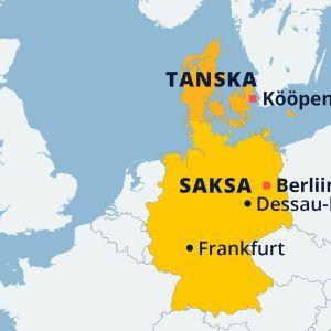Saksan ja Tanskan kartta. Paikannettu myös maiden pääkaupungit sekä Saksan kaupungeista Frankfurt ja Dessau-Roßlau.