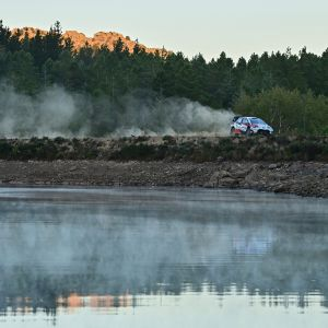 Kalle Rovanpera steers a toyota Yaris WRC assisted by Finnish co-driver Jonne Halttunen during the Rally of Sardinia in Budduso