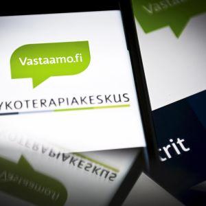 Vastaamon logoja kuvattuna yrityksen nettisivuilta ja somekanavista.