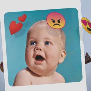Sosiaalistamediaa matkiva animaatio jossa vauvakuvan ympärillä pyörii somesta tuttuja ikunoita kuten iloinen kakkapökäle, tuttipullo ja erilaisia hymiöitä.