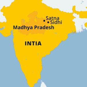 Madhya Pradeshin osavaltio kartalla, Intia