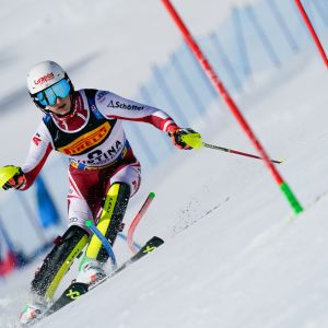 Adrian Pertl of Austria in action during the FIS Alpine Ski World Championships Men's Slalom on February 21, 2021 in Cortina d'Ampezzo Italy.
