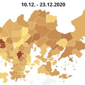 Kartta koronan ilmaantuvuudesta Helsingin eri postinumeroalueilla.