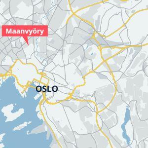 Kartta Oslossa sattuneesta maanvyörystä.