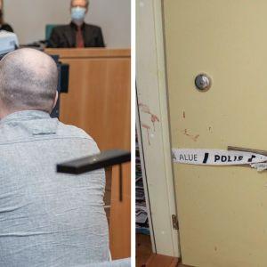 Selän takaa kuvattu mies oikeussalissa ja toinen kuva poliisinauhalla eristetystä ovesta jossa on myös vähän verta.