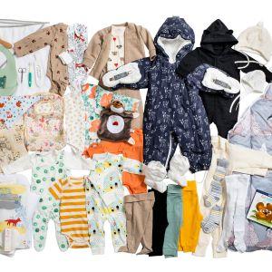 Äitiyspakkauksen kaikki tuotteet.