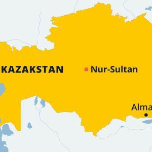 Kazakstanin kartta, jossa pääkaupunki Nur-Sultan ja Almaty.