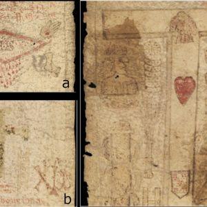 Kolme yksityiskohtaa pergamenista.