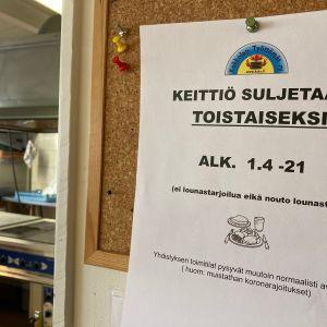 Kokkolan työttömien ruokailu loppuu.