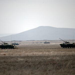 Venäjän raskasta sotakalustoa Krimin niemimaalla.