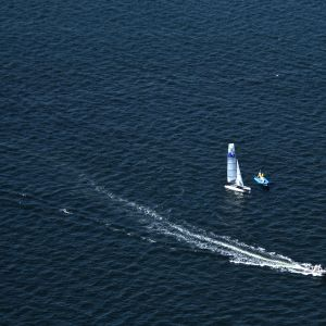 "Aerial view of ""Nacra 17"" sailboats during a training session on Guanabara Bay in view of Rio 2016 Olympic Games, in Rio de Janeiro on July 28, 2015."